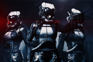 Cyborgs in Helmets Background for 1080x960