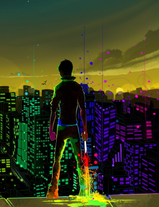 Free Big City Colorful Illustration Picture for Nokia C2-06