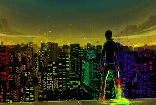 Kostenloses Big City Colorful Illustration Wallpaper für Samsung Galaxy Ace 3