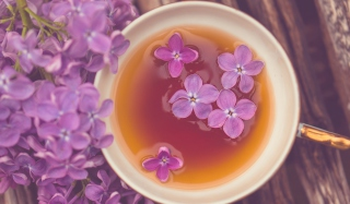 Cup Of Tea And Lilac Flowers Background for 800x480