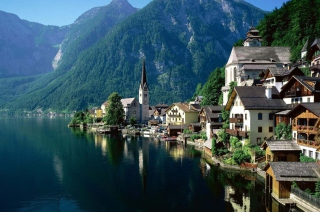 Mountain Lake Town Background for Android, iPhone and iPad
