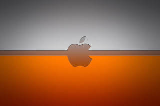 Grey And Orange Apple Logo Wallpaper for Android, iPhone and iPad