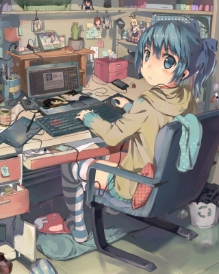 Free Anime girl Computer designer Picture for Nokia Asha 306