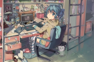Anime girl Computer designer Picture for Android, iPhone and iPad