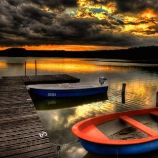 Обои Silent Evening Boats HD Wallpaper на телефон iPad mini