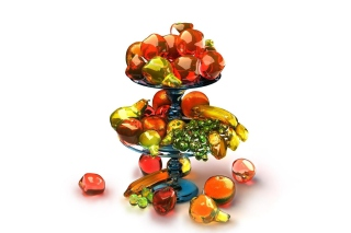Free 3D Glass Fruits Picture for Android, iPhone and iPad