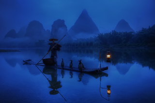 Chinese Fisherman Wallpaper for Android, iPhone and iPad