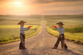 Children cowboys Wallpaper for Android, iPhone and iPad
