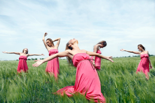 Free Girl In Pink Dress Dancing In Green Fields Picture for Android, iPhone and iPad