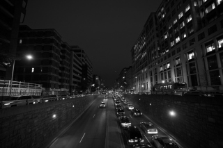 Free Black And White Cityscapes Lights Picture for 320x240