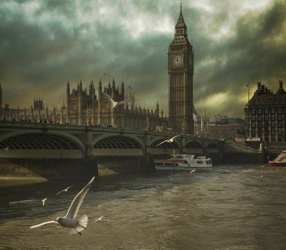 Dramatic Big Ben And Seagulls In London England - Obrázkek zdarma pro iPad 2