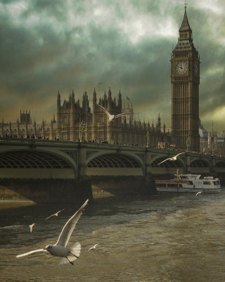 Dramatic Big Ben And Seagulls In London England Background for 240x320