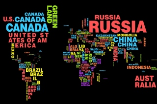World Map with Countries Names Wallpaper for 1366x768