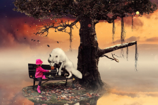 Little Red Riding Hood and Wolf Background for Android, iPhone and iPad