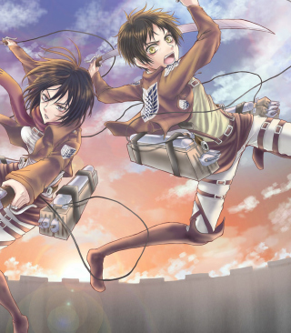 Free Eren Yeager and Mikasa Ackerman Picture for 240x400