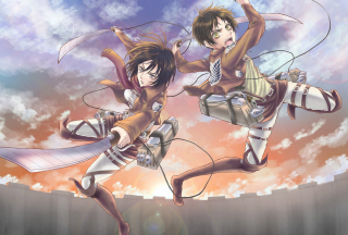 Eren Yeager and Mikasa Ackerman Background for Android, iPhone and iPad