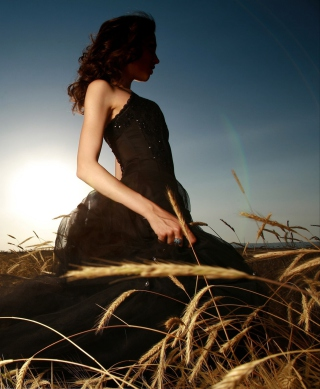 Free Girl In Black Dress In Fields Picture for 360x640