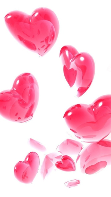 Abstract Pink Hearts On White Mobile Wallpaper at VividScreen