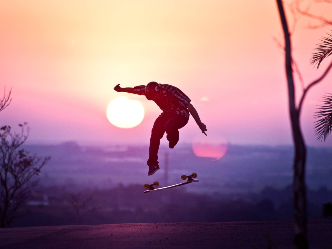 Screenshot №1 pro téma Sunset Skateboard Jump 1152x864