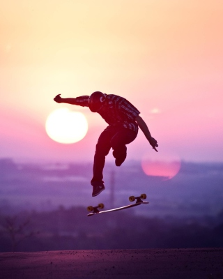 Sunset Skateboard Jump Wallpaper for iPhone 6 Plus