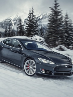 Screenshot №1 pro téma Tesla Model S P85D on Snow 240x320