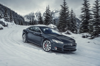 Tesla Model S P85D on Snow Background for Android, iPhone and iPad