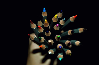 Colorful Pencils In Hand Background for Android, iPhone and iPad