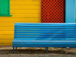 Colorful Houses and Bench para Nokia Asha 201