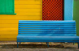 Colorful Houses and Bench Picture for Android, iPhone and iPad
