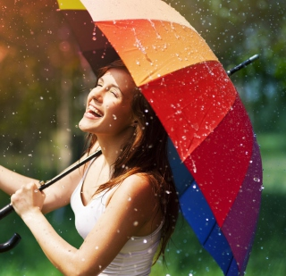 Happy Girl With Rainbow Umbrella Under Summer Rain - Obrázkek zdarma pro 1024x1024