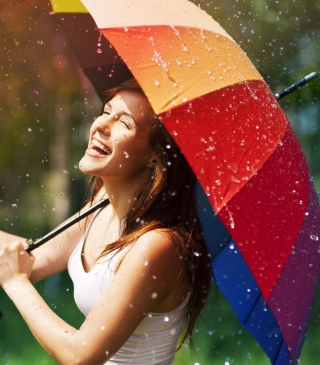 Happy Girl With Rainbow Umbrella Under Summer Rain - Obrázkek zdarma pro Nokia Lumia 2520