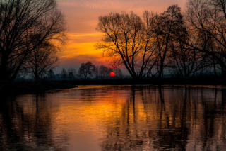 Atmospheric optic Reflection and Sunset Wallpaper for Android, iPhone and iPad