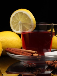 Обои Tea with lemon and cinnamon 240x320