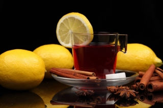 Tea with lemon and cinnamon Background for Android, iPhone and iPad