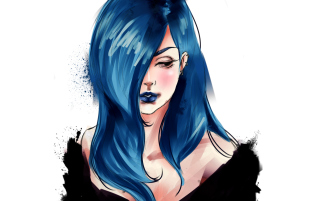 Girl With Blue Hair Painting Wallpaper for Android, iPhone and iPad