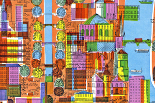 Town Illustration and Clipart Background for Android, iPhone and iPad