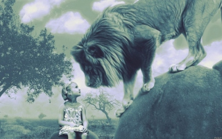 Kid And Lion Background for 1080x960