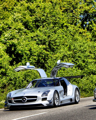 Mercedes Benz SLS Grand Tourer Coupe Background for iPhone 6 Plus