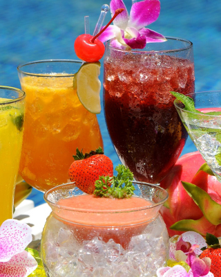 Summer cocktails in hotel All Inclusive Background for 240x320