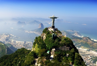 Statue Of Christ On Corcovado Hill In Rio De Janeiro Brazil Background for Android, iPhone and iPad
