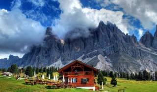 Wooden House In Alps Wallpaper for Android, iPhone and iPad
