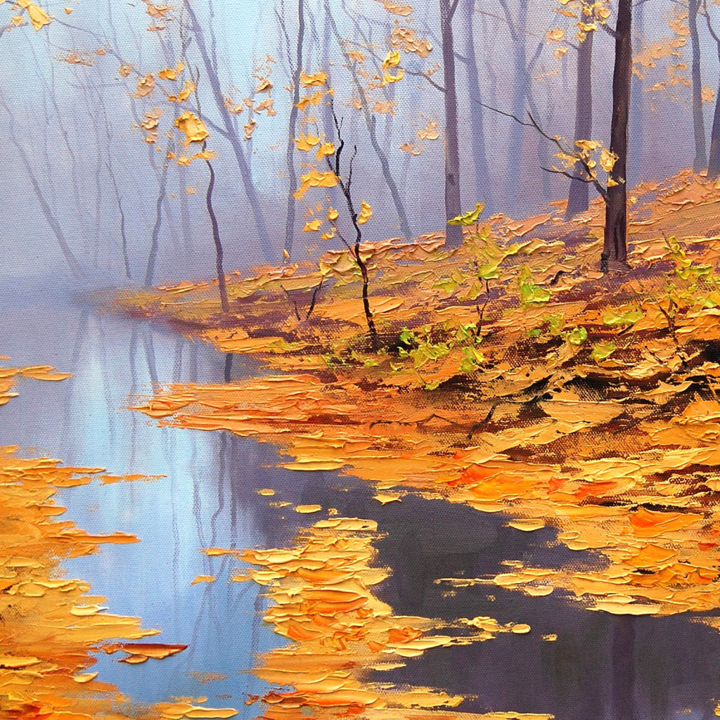 Screenshot №1 pro téma Painting Autumn Pond 1024x1024