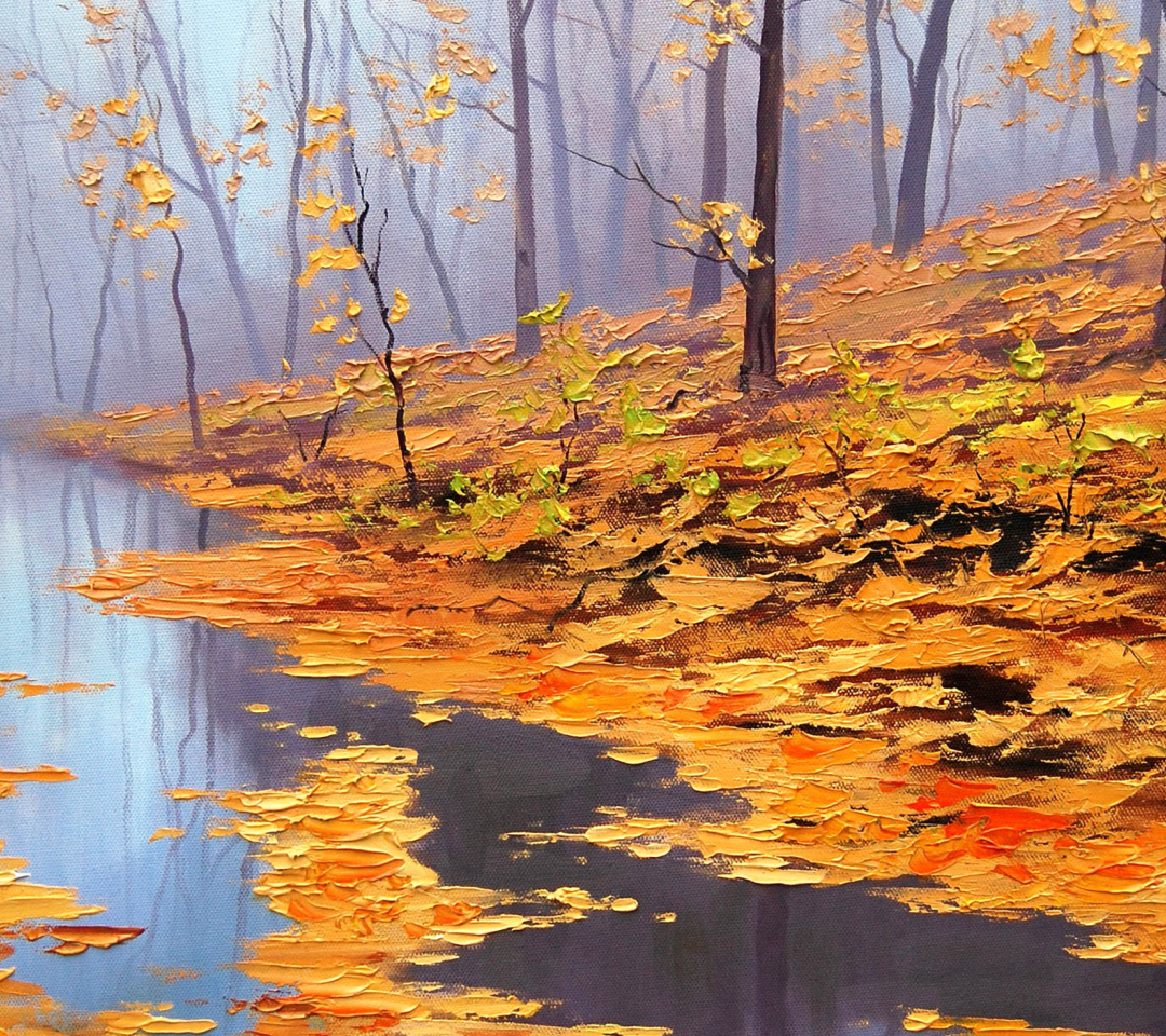 Screenshot №1 pro téma Painting Autumn Pond 1080x960