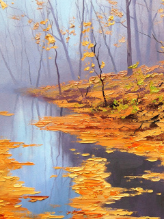Screenshot №1 pro téma Painting Autumn Pond 240x320