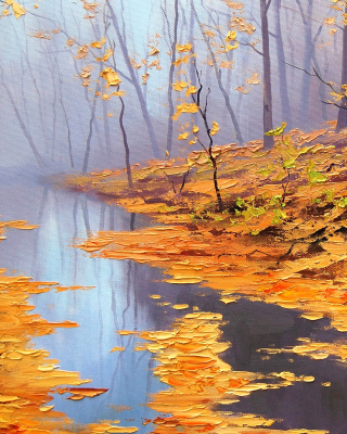 Painting Autumn Pond Wallpaper for Nokia X2
