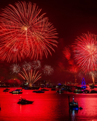 Free Asian Holiday fireworks Picture for Nokia Asha 306