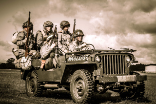 Soldiers on Jeep Background for Android, iPhone and iPad