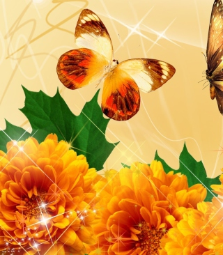 Autumn Butterflies Shines Background for HTC Titan
