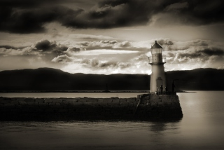 Dark Lighthouse Background for Android, iPhone and iPad