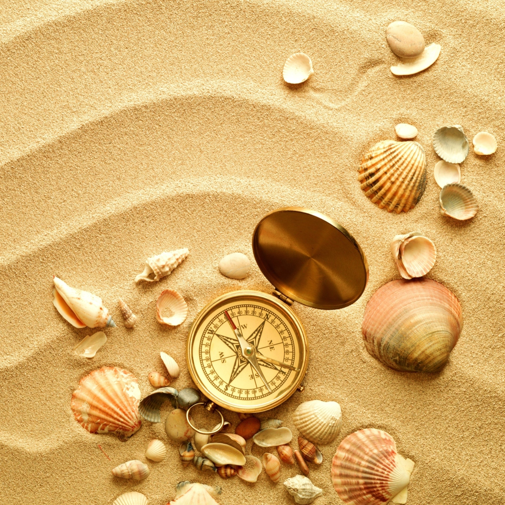 Screenshot №1 pro téma Compass And Shells On Sand 1024x1024
